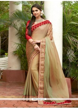 Zesty Beige Embroidered Work Designer Saree