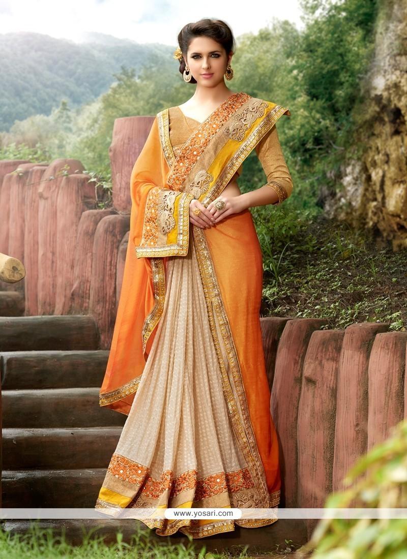 Perfect Orange Embroidered Work Designer Traditional Sarees