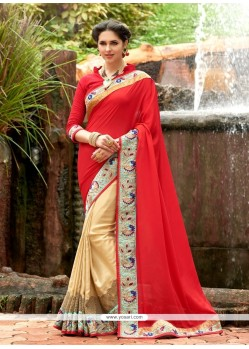 Prodigious Red Faux Chiffon Designer Saree