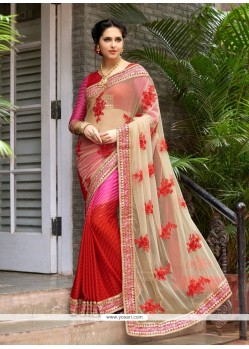 Hot Pink And Red Embroidered Work Net Classic Saree