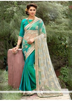 Resplendent Net Sea Green Patch Border Work Designer Saree