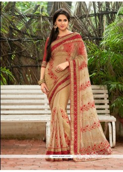 Preferable Georgette Beige Embroidered Work Designer Saree