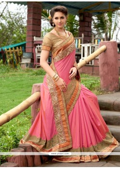 Observable Art Silk Rose Pink Designer Saree