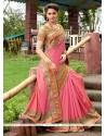 Observable Art Silk Rose Pink Designer Saree
