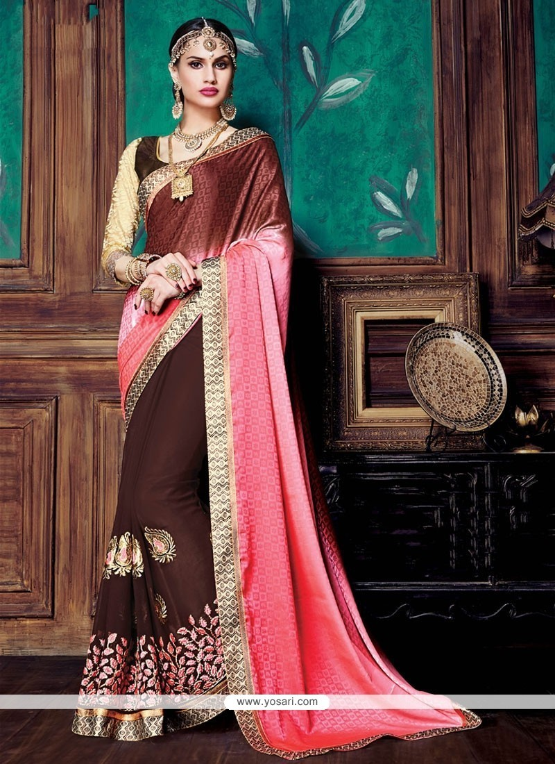 Radiant Brown And Pink Embroidered Work Designer Saree