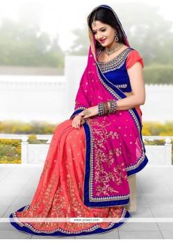 Pristine Pink Georgette Designer Saree