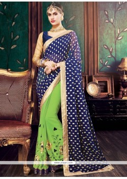 Voluptuous Georgette Blue And Green Designer Half N Half Saree