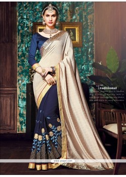 Alluring Beige And Navy Blue Designer Half N Half Saree