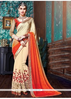 Stylish Pure Crepe Beige And Orange Designer Half N Half Saree