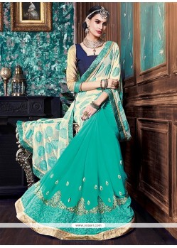Aristocratic Georgette Beige And Green Designer Half N Half Saree