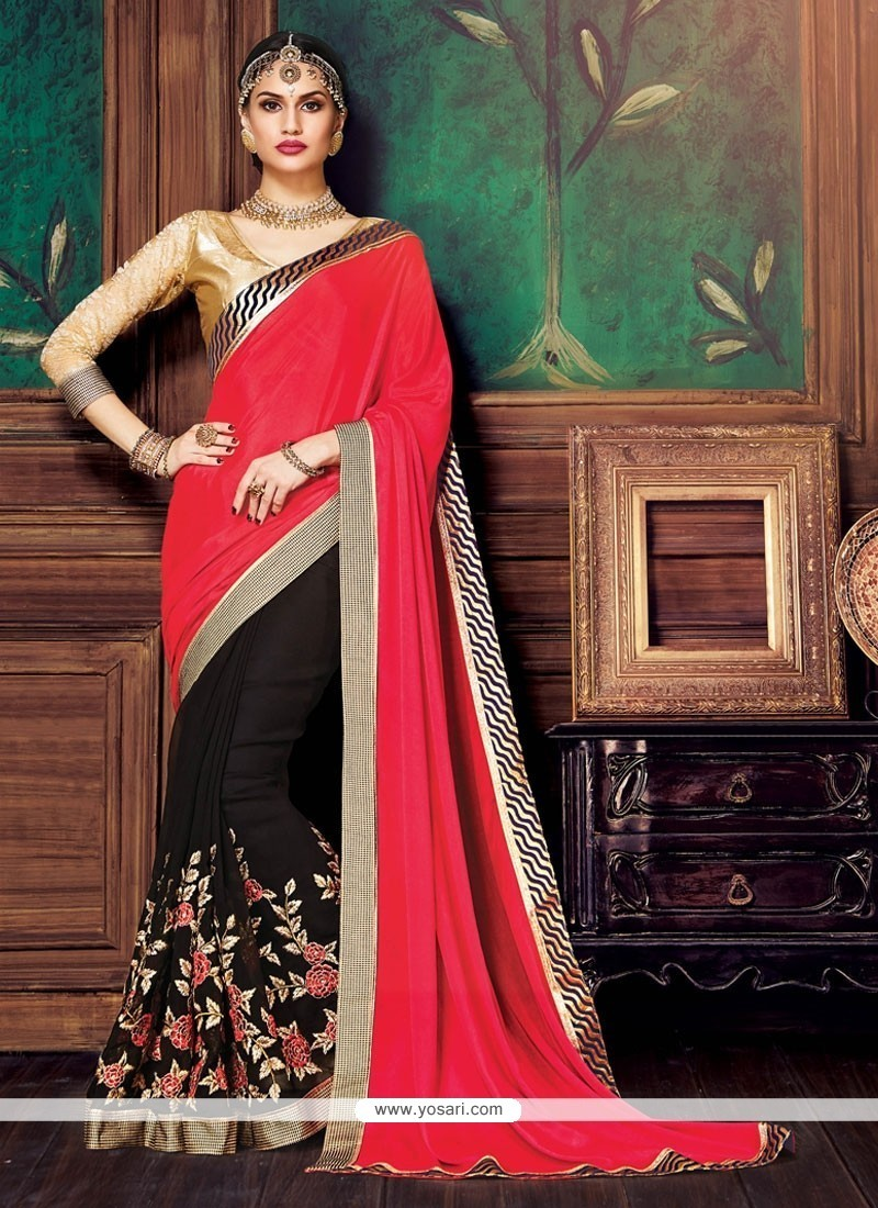 Conspicuous Patch Border Work Black And Pink Satin Designer Half N Half Saree