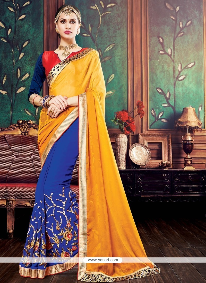Delectable Embroidered Work Blue And Yellow Georgette Designer Half N Half Saree