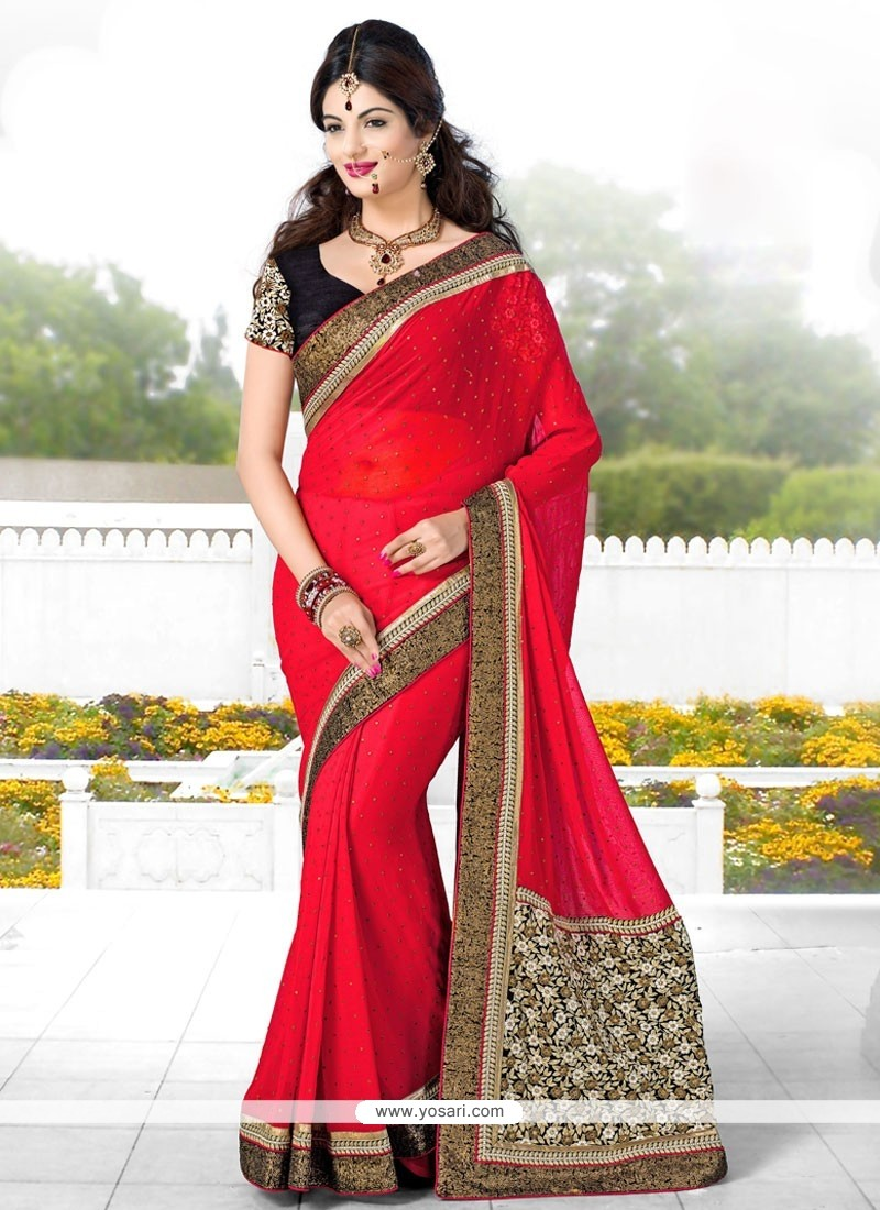 Latest Red Georgette Designer Saree