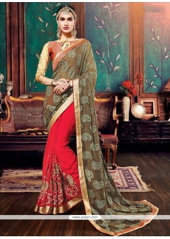 Fab Patch Border Work Designer Half N Half Saree