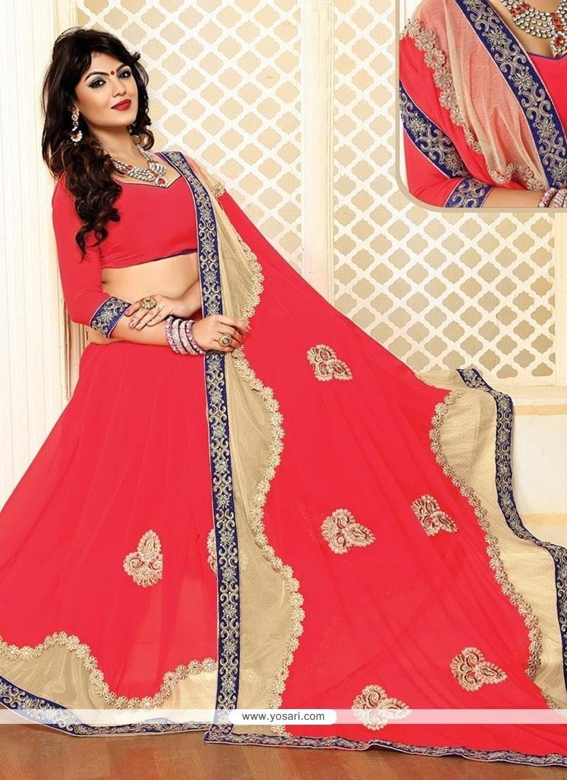Embroidered Lycra Designer Saree In Pink