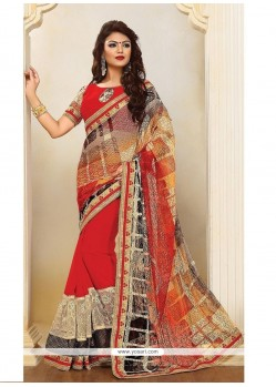 Immaculate Print Work Red Designer Saree