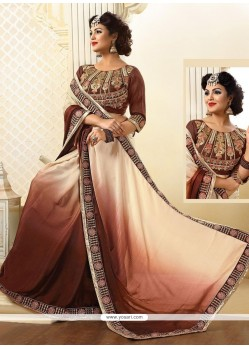 Fantastic Jacquard Brown And Cream Designer Saree