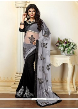 Customary Black And Grey Patch Border Work Net Designer Saree