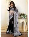Customary Black And Grey Patch Border Work Net Designer Saree
