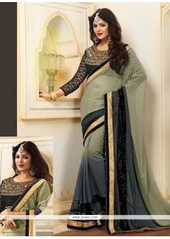 Aristocratic Black And Grey Georgette Designer Saree