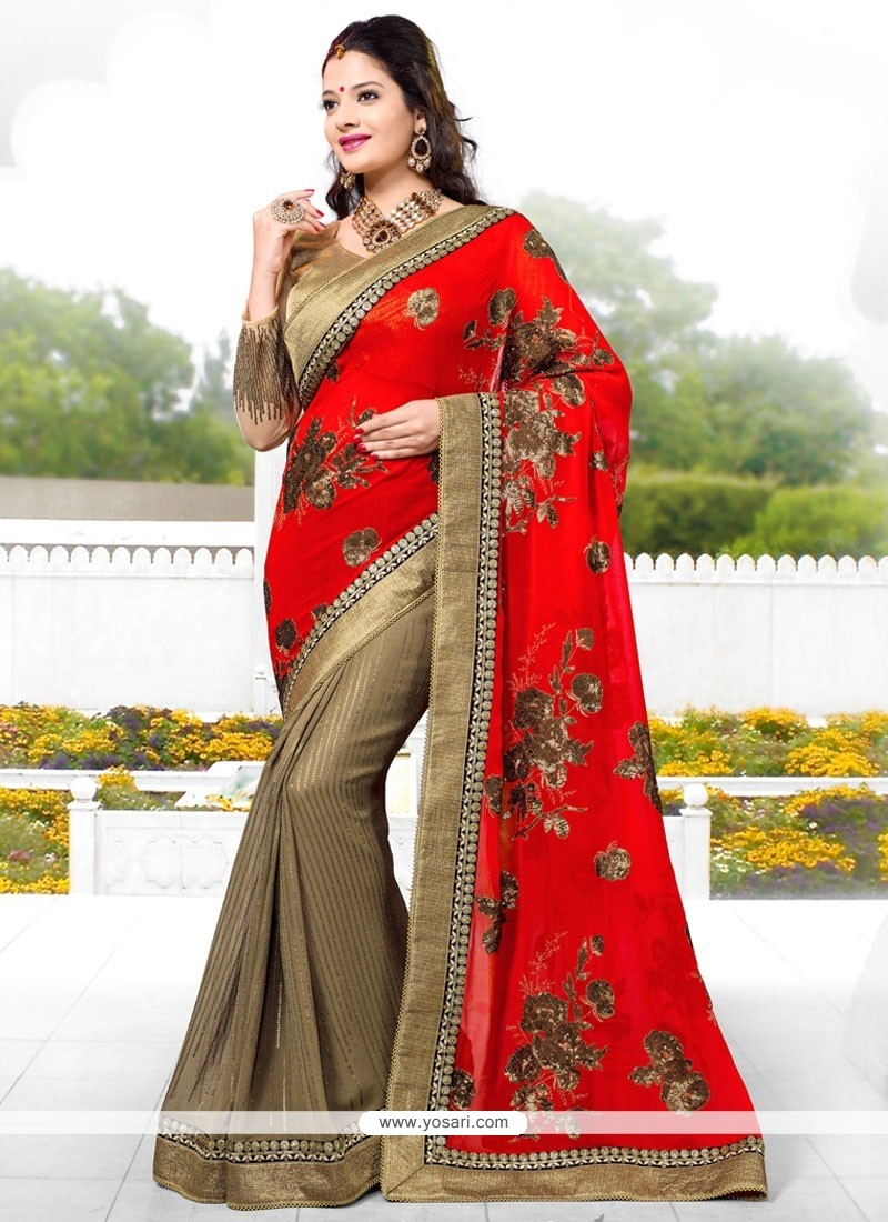 Beige And Red Georgette Party Wear Saree