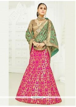 Sparkling Pink Resham Work A Line Lehenga Choli
