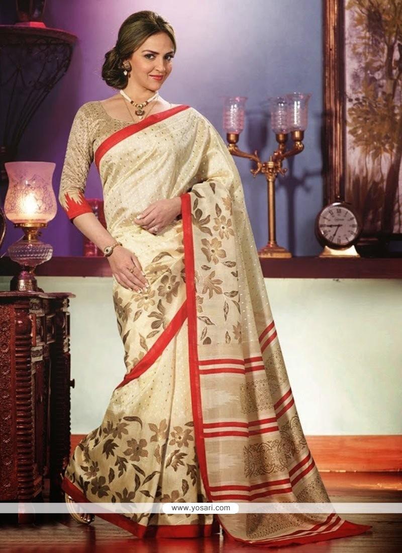 Fashionistic Cream Art Silk Saree