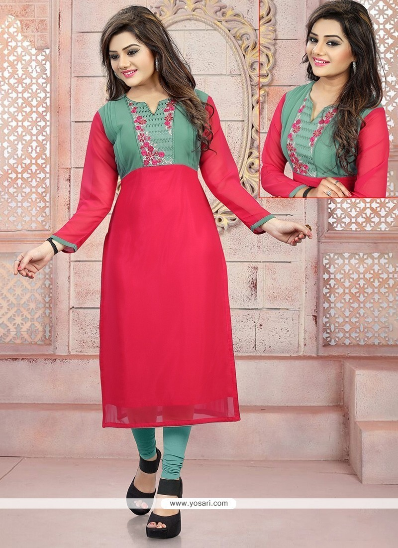 Gleaming Embroidered Work Party Wear Kurti