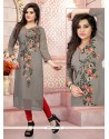 Catchy Grey Embroidered Work Georgette Party Wear Kurti