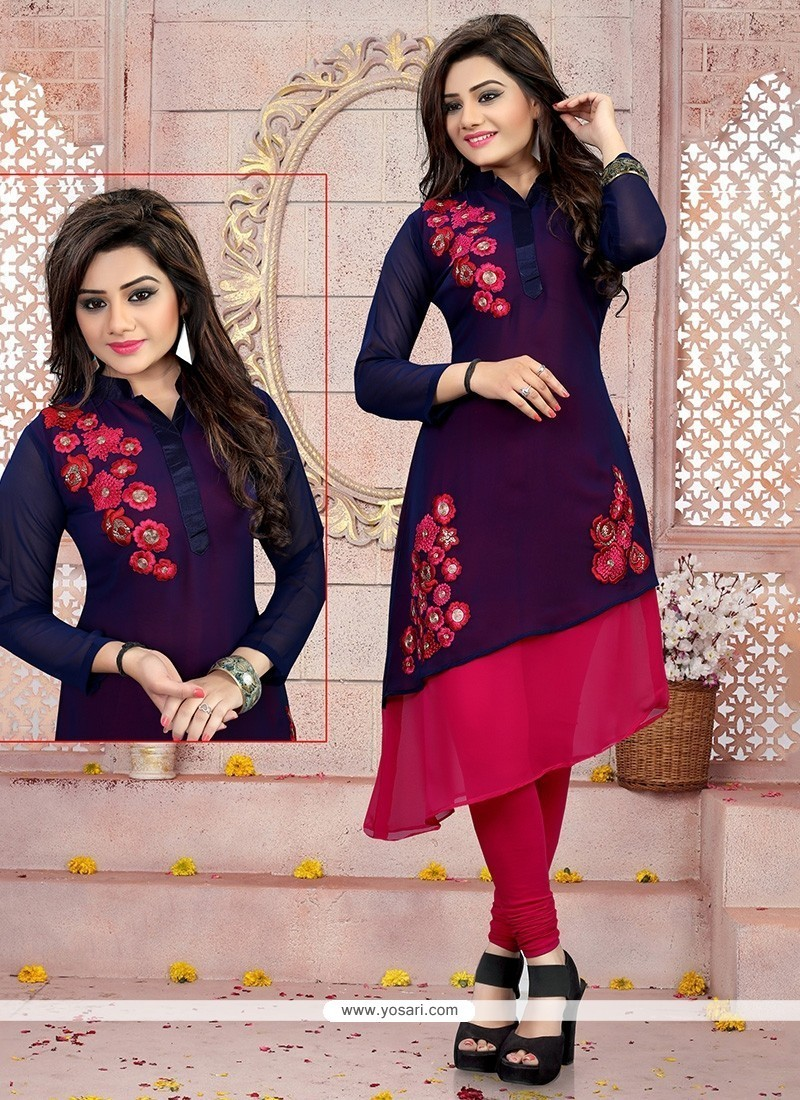 Perfervid Georgette Navy Blue Embroidered Work Party Wear Kurti