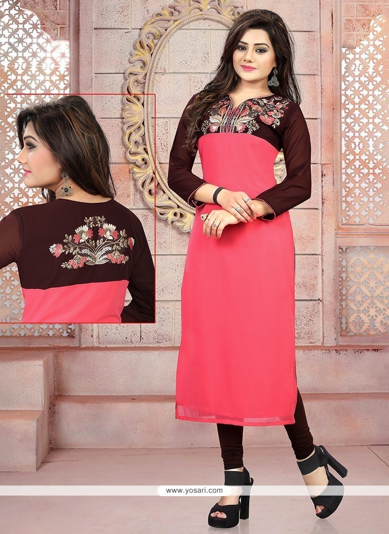 Captivating Georgette Pink Embroidered Work Party Wear Kurti