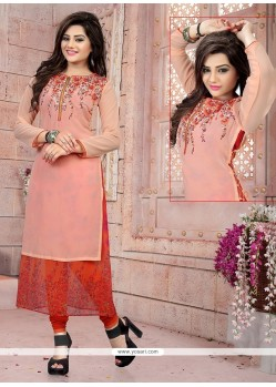 Best Embroidered Work Pink Party Wear Kurti
