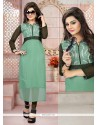 Observable Sea Green Embroidered Work Party Wear Kurti
