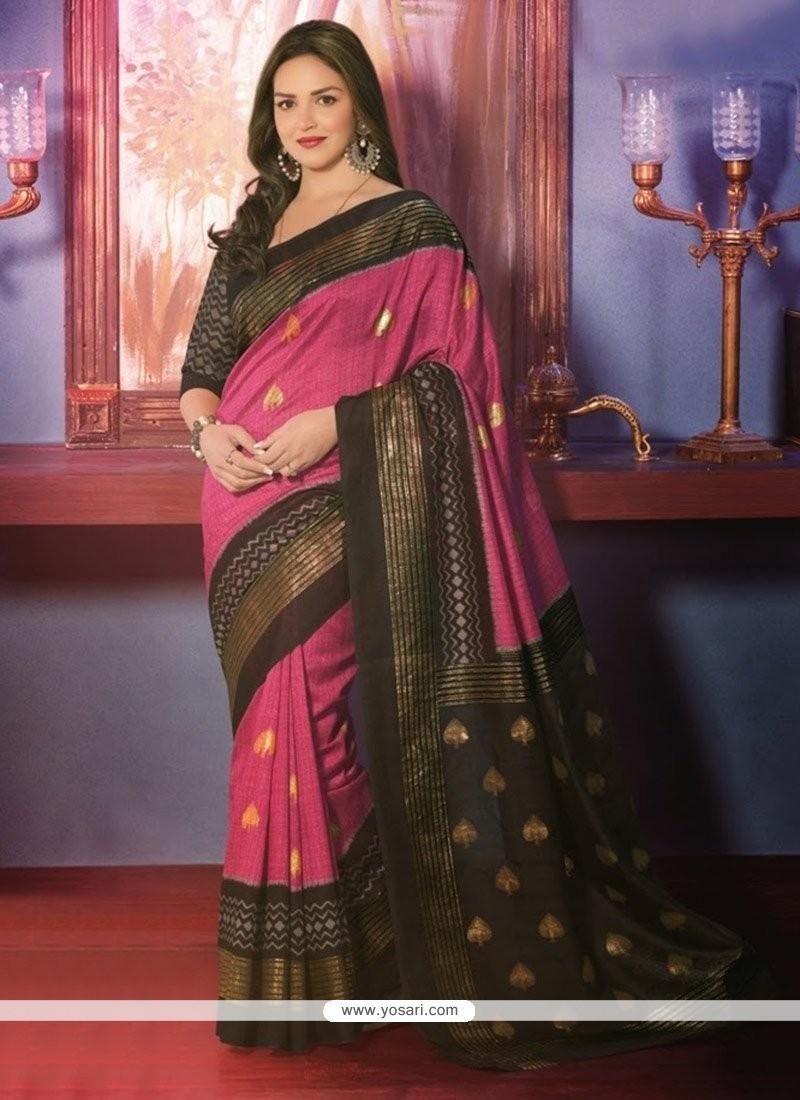 Fascinating Pink Art Silk Saree