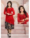 Exciting Embroidered Work Georgette Red Party Wear Kurti