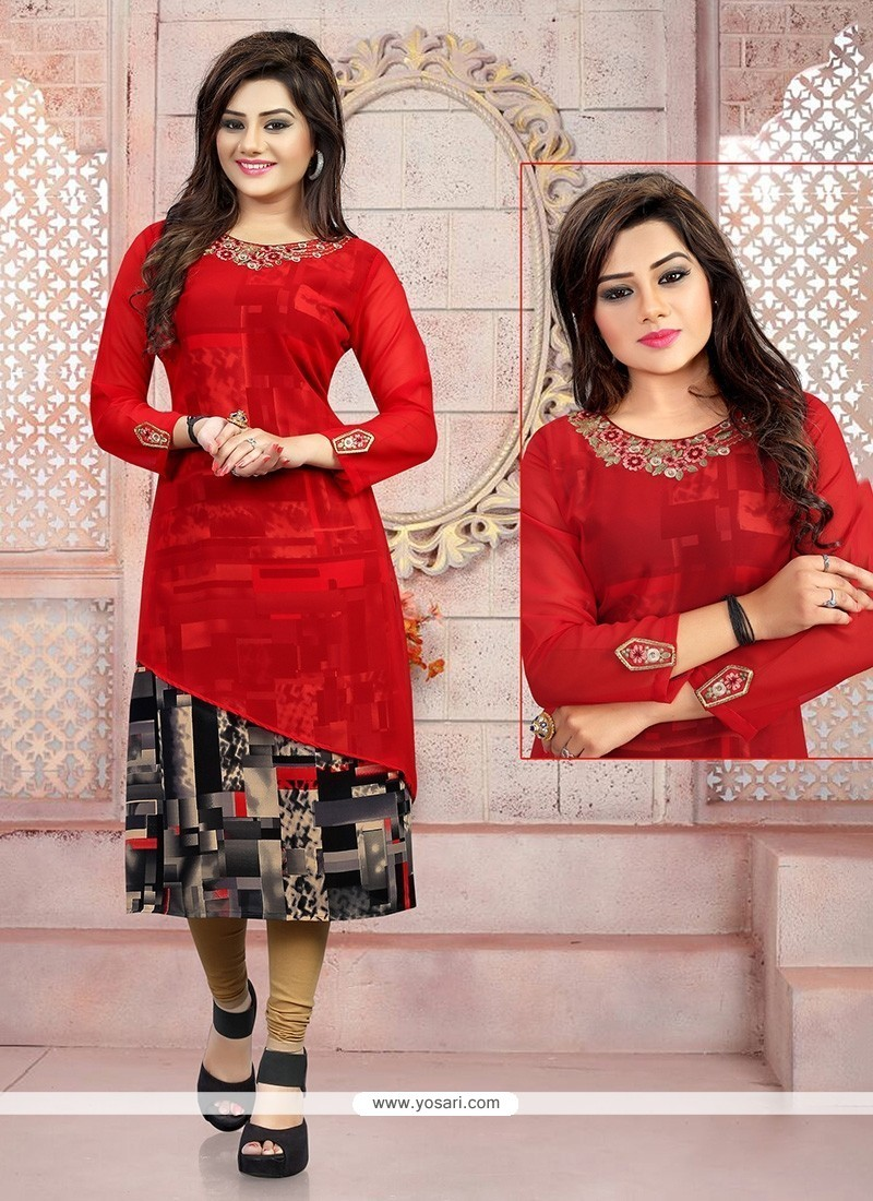 7b9d3e3efd9 Buy Exciting Embroidered Work Georgette Red Party Wear Kurti