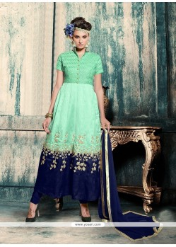 Suave Navy Blue And Sea Green Resham Work Georgette Anarkali Salwar Kameez