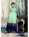 Suave Navy Blue And Sea Green Resham Work Georgette Anarkali Salwar Kameez
