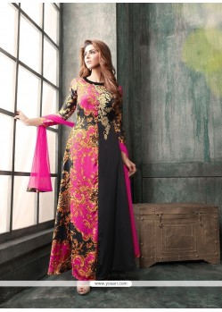 Mod Black And Hot Pink Anarkali Salwar Kameez