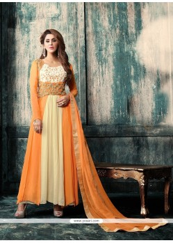 Gilded Orange Resham Work Anarkali Salwar Kameez