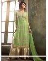 Miraculous Pure Chiffon Green Designer Palazzo Salwar Kameez
