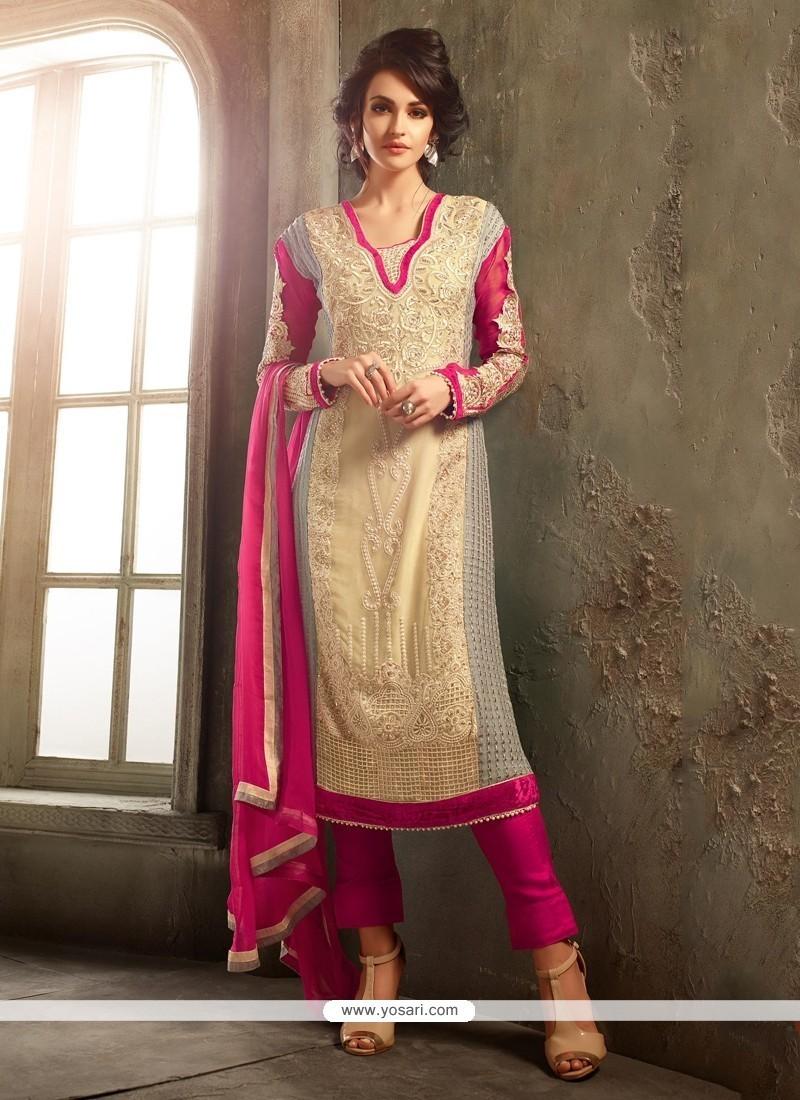 Remarkable Hot Pink Resham Work Pure Chiffon Churidar Designer Suit