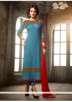 Marvelous Embroidered Work Viscose Churidar Designer Suit