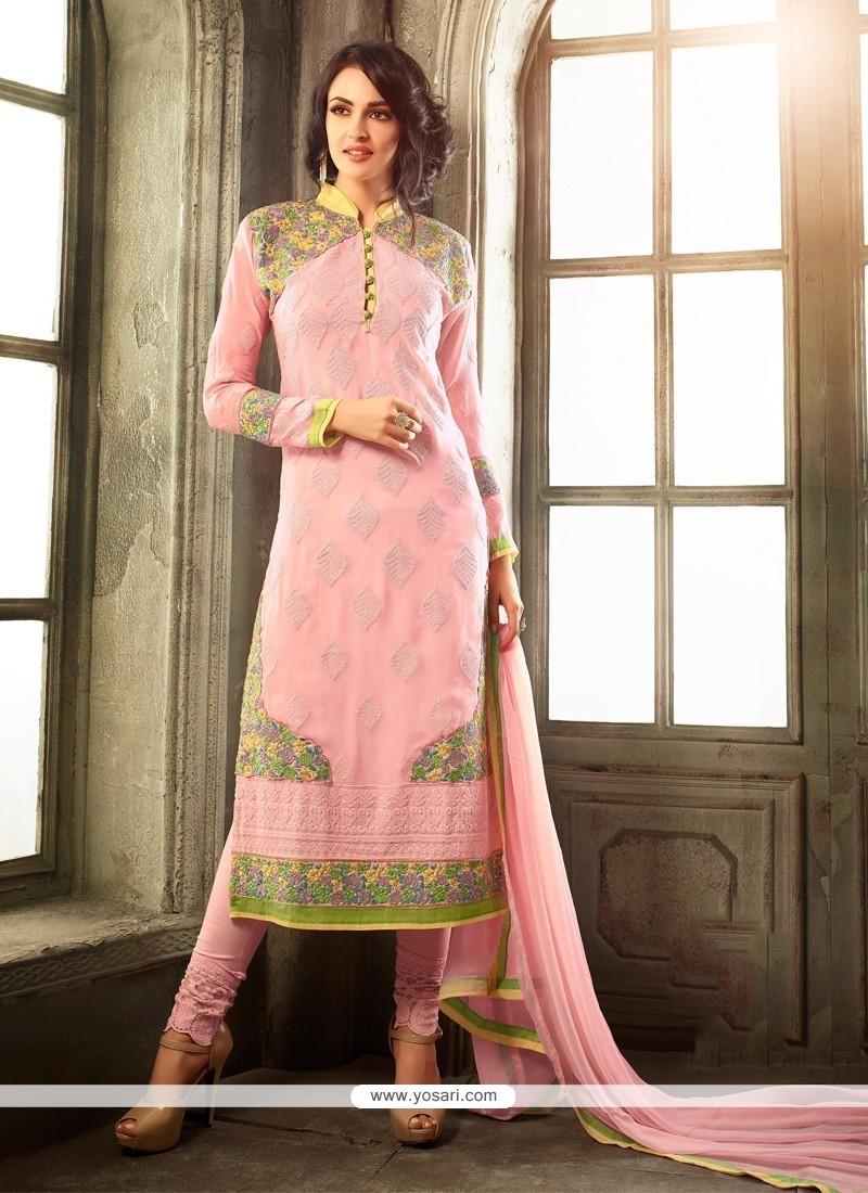 Glorious Viscose Pink Churidar Designer Suit