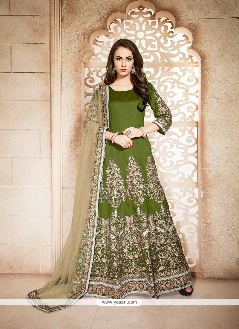 Charming Embroidered Work Green Banglori Silk Designer Floor Length Suit