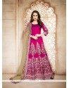 Graceful Banglori Silk Hot Pink Patch Border Work Designer Floor Length Suit