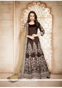 Stunning Banglori Silk Brown Embroidered Work Designer Floor Length Suit