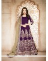 Grandiose Banglori Silk Purple Embroidered Work Designer Floor Length Suit