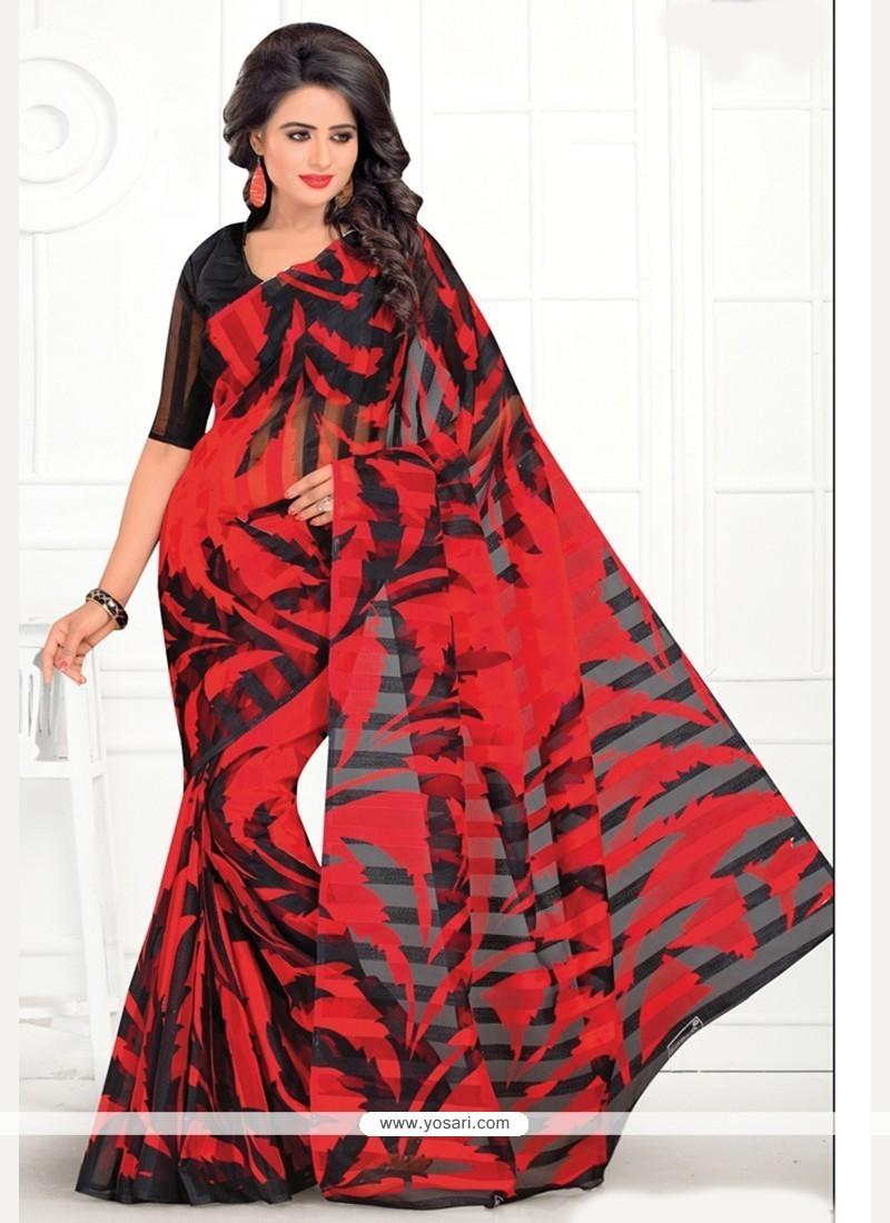 Pristine Cotton Red Casual Saree