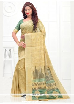 Orphic Silk Cream Casual Saree
